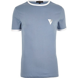 Blue sporty ringer muscle fit T-shirt