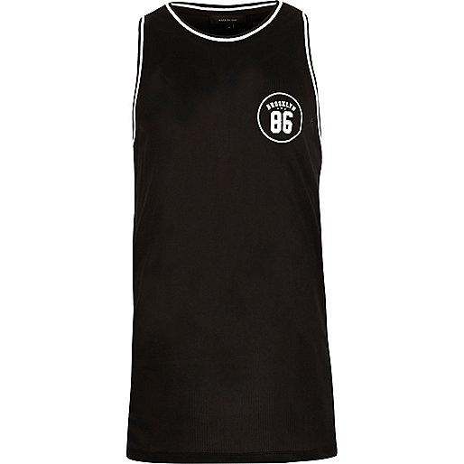 Black number print mesh vest