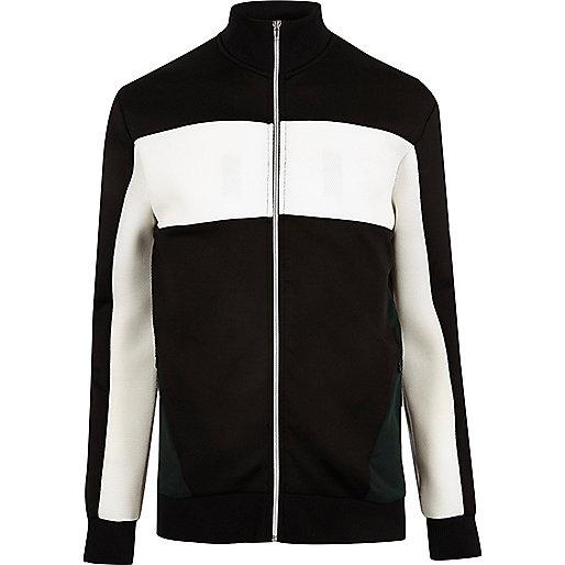 Schwarze Jacke in Blockfarben