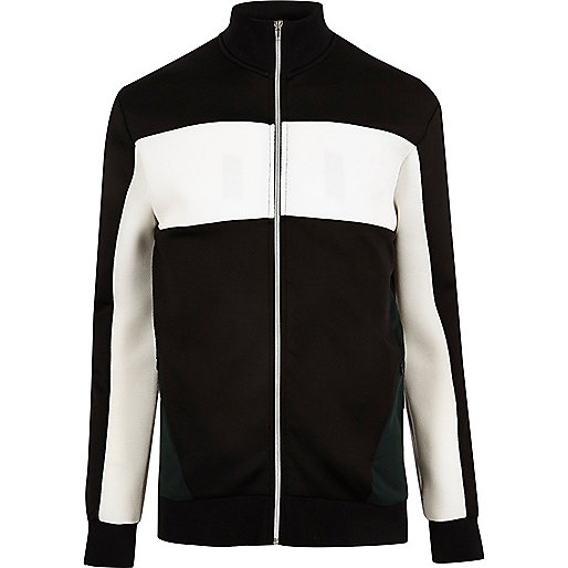 Black zip color block jacket