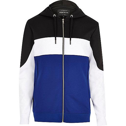 Blue colour block zip up hoodie
