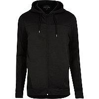 Black mesh panel zip up hoodie