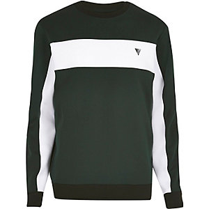 Green colour block sweat