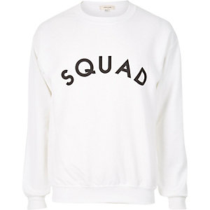 White 'Squad' print sweatshirt