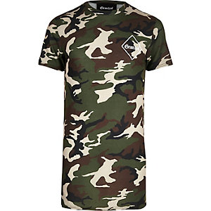 Khaki Granted camo longline T-shirt