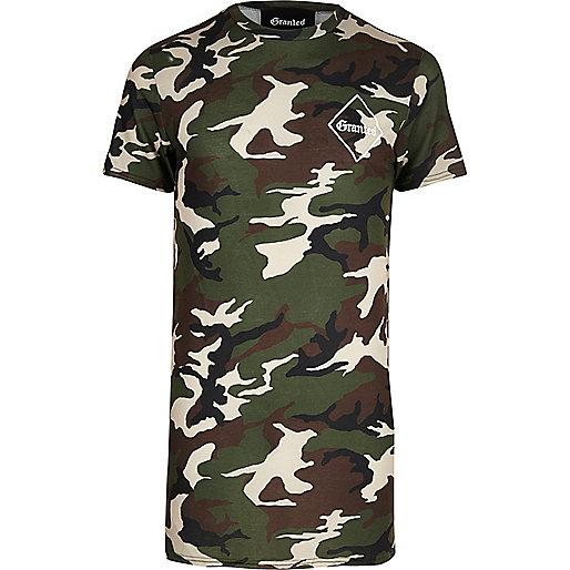 Khaki Granted camo longline T-shirt