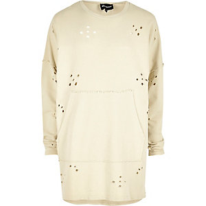 Ecru Granted holey longline sweater