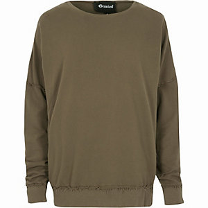 Khaki Granted frayed seam sweatshirt