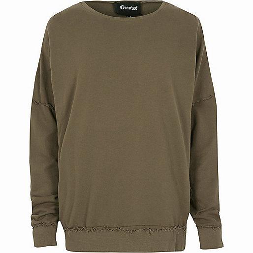 Khaki Granted frayed seam sweatshirt