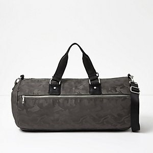 Grey camo print holdall bag