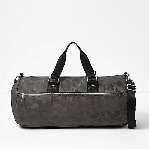 Grey camo print holdall bag