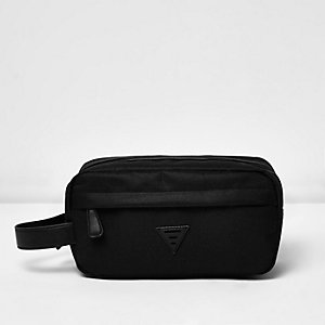 Black nylon zip up washbag