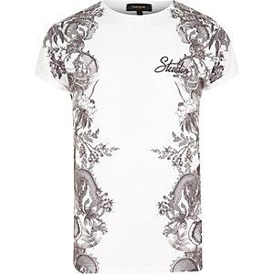 Weißes T-Shirt mit seitlichem Print