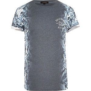 Grey side print T-shirt