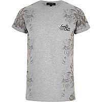 Grey side print T-shirt