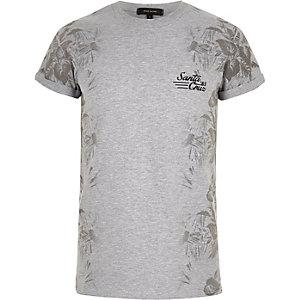 T-shirt gris imprimé sur les côtés