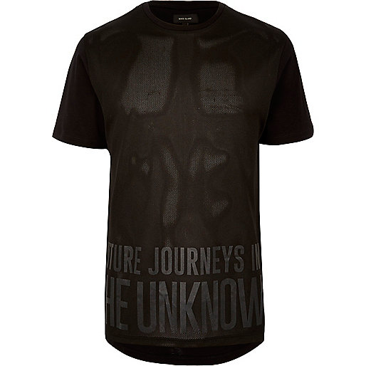 Black mesh print T-shirt