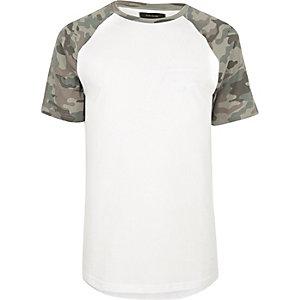 White camo raglan T-shirt