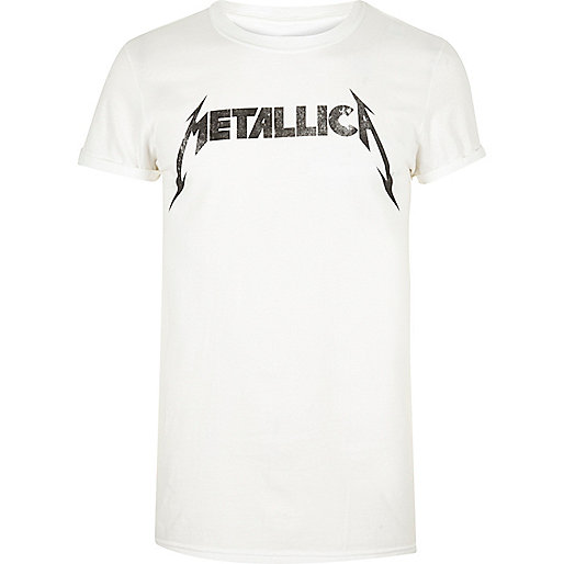 White Metallica band T-shirt