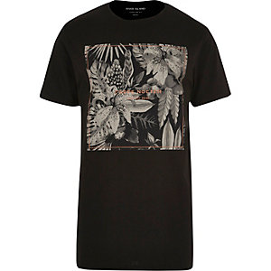 Black leaf print longline T-shirt