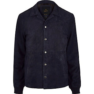 Navy ADPT suede jacket
