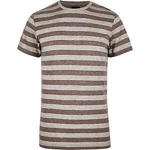 Grey striped ADPT T-shirt