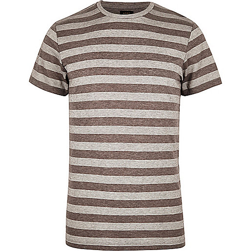 ADPT – Graues, gestreiftes T-Shirt