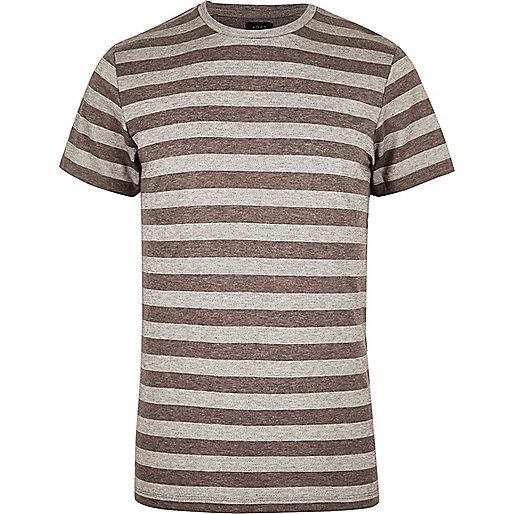 T-shirt ADPT à rayures grises