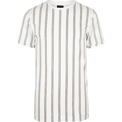 White ADPT vertical stripe T-shirt