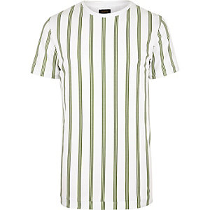 White ADPT green vertical stripe tee
