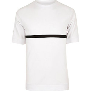 White ADPT black stripe T-shirt