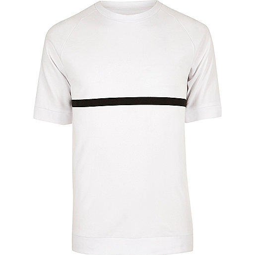 White ADPT black stripe T-shirt