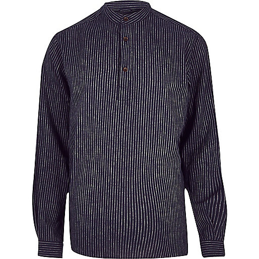 Navy ADPT casual grandad shirt