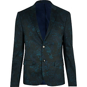 Green floral cropped suit jacket