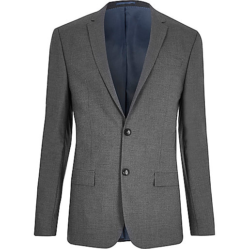 Dark grey skinny suit jacket