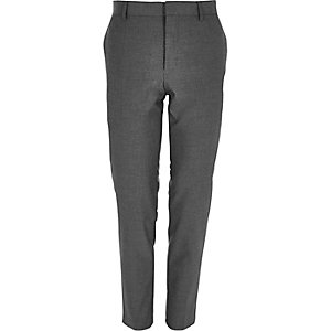 Dark grey skinny suit trousers