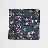 Navy floral print pocket square