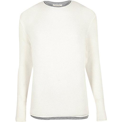 Langer Pullover in Ecru