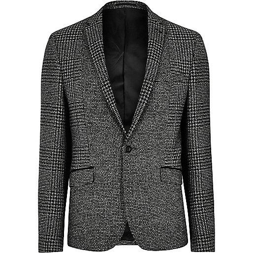 Grey dogtooth skinny fit blazer