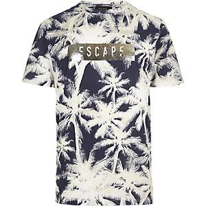 Navy palm tree print T-shirt