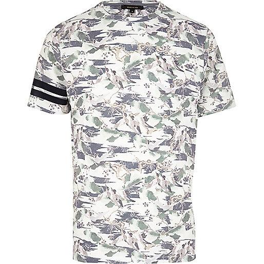 Ecru oriental bird print T-shirt