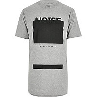 Grey debossed print longline T-shirt
