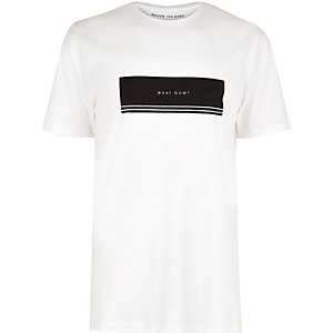 White 'What Now' print longline T-shirt