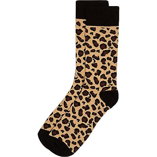 Brown leopard print socks