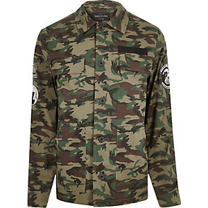 Green camouflage badge jacket