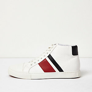 White retro sporty hi tops