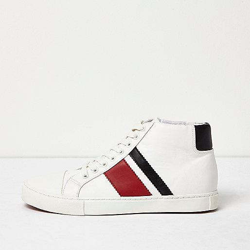 White retro sporty hi tops