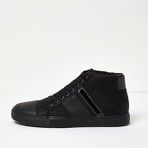 Black tonal sporty hi tops