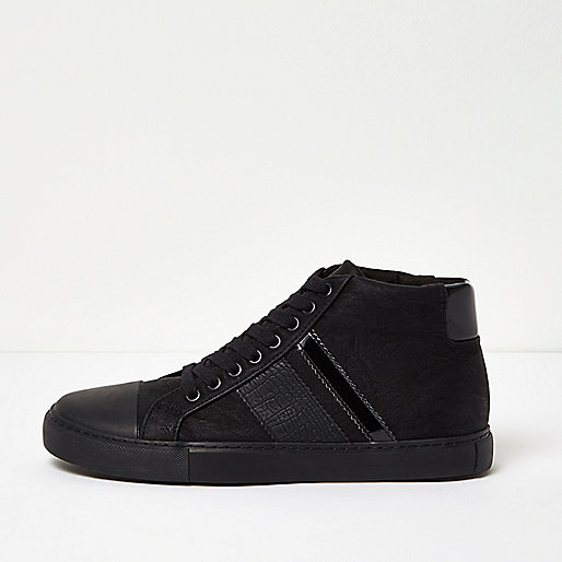 Black tonal sporty hi tops
