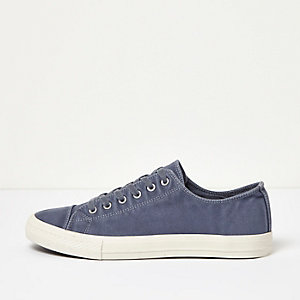 Navy canvas lace-up sneakers